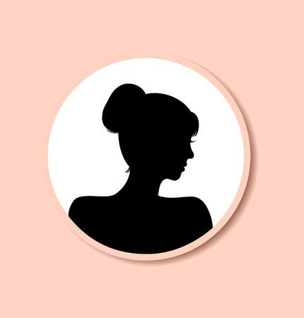 Retro Frau Kopf Silhouette im runden Rahmen. Vector Isolierte halbe Gesicht der Frau. Vintage-Dame Porträt. Contour Bild des Kopfes