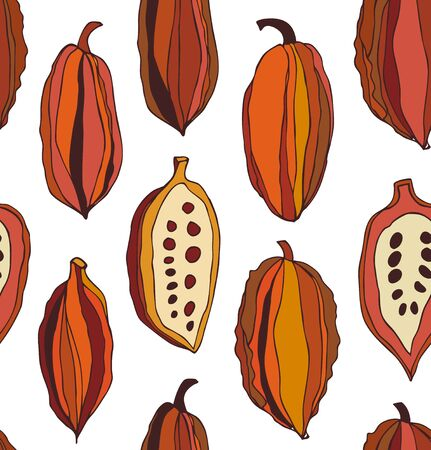 Seamless pattern with cocoa beans. Decorative vector colorful chocolate background
