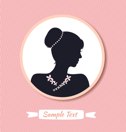 19th century style: Retro woman head silhouette in round frame. Vector Isolated woman half face. Vintage lady portrait. Contour image of head
