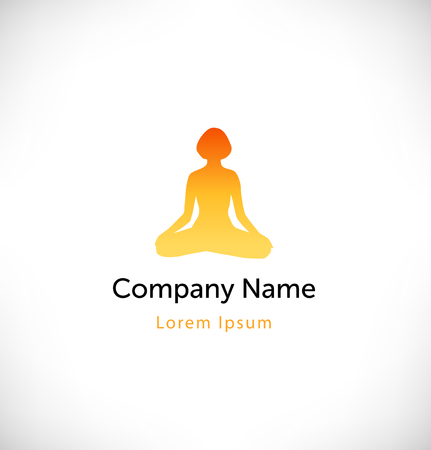 Vector contour of woman in the yoga pose, the Lotus position. Logo with yoga symbol. Isolated icon, sign, logotype concept with decorative female silhouette in meditation Illustration