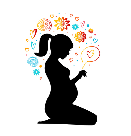 children silhouettes: Pregnant woman silhouette with artistic elements. New born with love. Vector beauty illustration