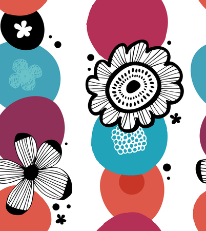 Floral colorful decorative pattern in scandinavian style. Abstract seamless background with stylized flowers