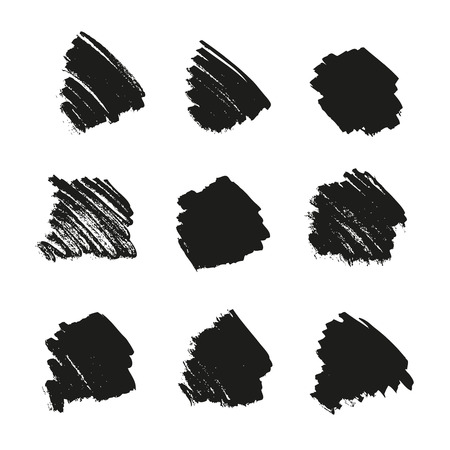 Collection of ink brushstrokes on white, vector set of artistic design elements