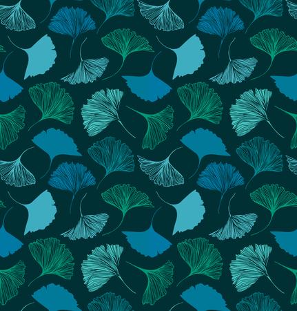 Naadloos bloemenpatroon met Ginkgo-bladeren. Vector decoratieve achtergrond. Natuur getrokken textuur Stockfoto - 81692209