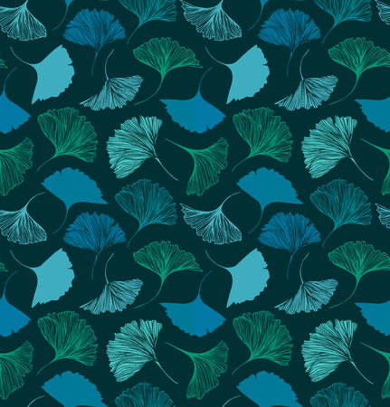 Seamless floral pattern with Ginkgo leaves. Vector decorative background. Nature drawn texture Иллюстрация