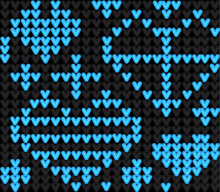 Template with stylized knite texture. Vector cartoon for embroidery, knitting. Decorative seamless backdrop, lovely contrast pattern with blue hearts on black Illustration