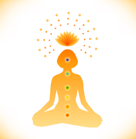 Shiny mandala. Silhouette of woman with symbols of chakras. Buddhistic poster. Vector illustration of a young girl in yoga meditation Illusztráció