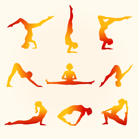 Vector contour collection of women in the yoga poses. Set of shiny silhouettes. Relax and meditate. Healthy lifestyle, wellness beautiful images