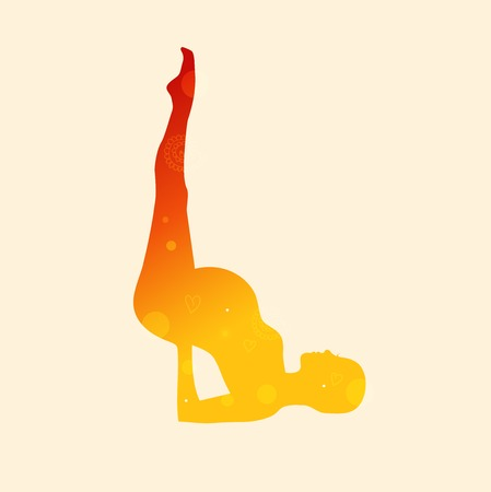 Vector contour of pregnant woman in the yoga pose, shoulderstand. Shiny silhouette. Relax and meditate. Healthy lifestyle, wellness beautiful illustration Illustration