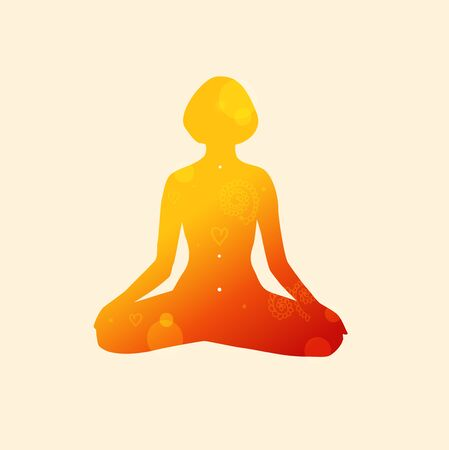 Vector contour of woman in the yoga pose, the Lotus position. Decorative female silhouette. Relax and meditate. Healthy lifestyle, wellness beautiful illustration Illustration