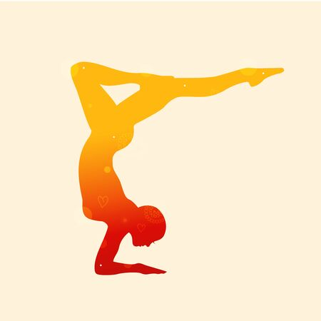 Vector contour of woman in the yoga pose. Decorative silhouette. Relax and meditate. Healthy lifestyle, wellness beautiful illustration-02 Vrischikasana. Scorpion Illustration