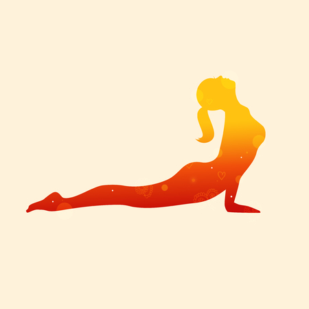 Vector contour of woman in the yoga pose. Decorative silhouette. Relax and meditate. Healthy lifestyle, wellness beautiful illustration-04 Upward-Facing Dog. Adho Mukha Svanasana