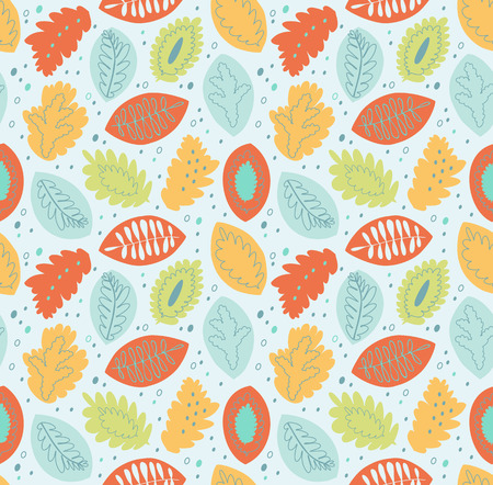 Graphic seamless vector pattern, cute texture with nature motiffs. Decorative endless background Illustration