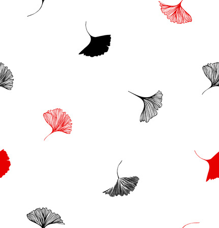 Seamless decorative pattern with red annd black Ginkgo leaves on white background. Vector graphic background, minimalistic texture Illustration