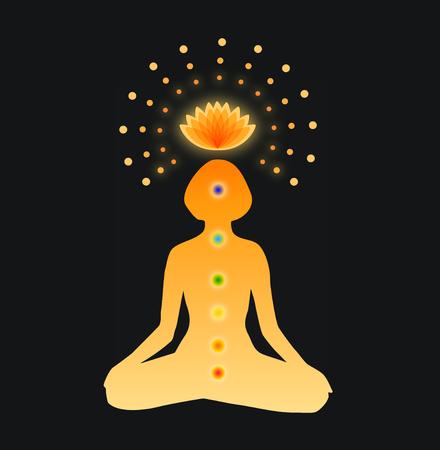 반짝이 만다라입니다. 차크라의 기호 여자의 실루엣입니다. Buddhistic 포스터입니다. 어두운 배경에서 요가 명상에있는 어린 소녀의 벡터 일러스트 레이