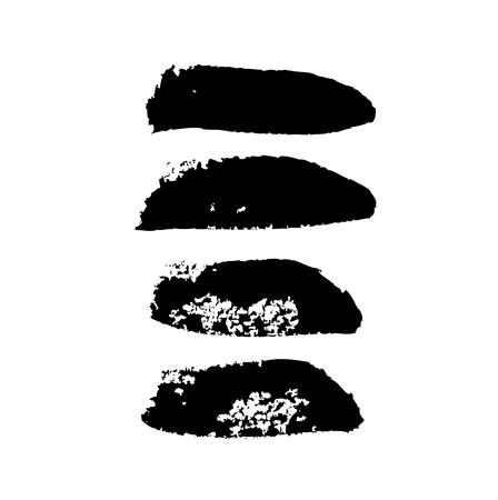 Collection of ink brushstrokes, black stains on white, vector design elements-02 Ilustração