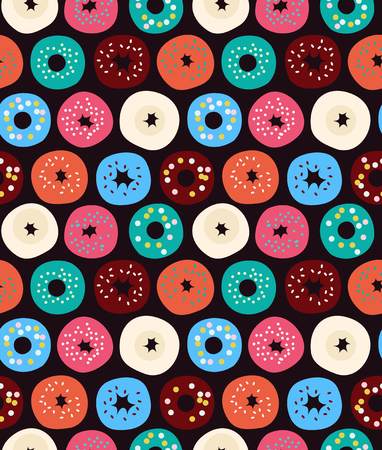 Cute seamless pattern with donuts, donuts, macaroni, vector background with cakes
