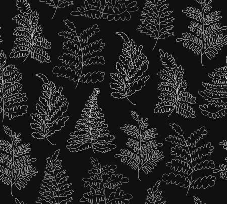 Floral vector ferns pattern. Hand drawn botanical texture. Decorative graphic background