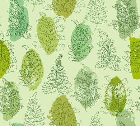 Floral vector ferns pattern. Hand drawn botanical texture. Decorative green graphic background Ilustração