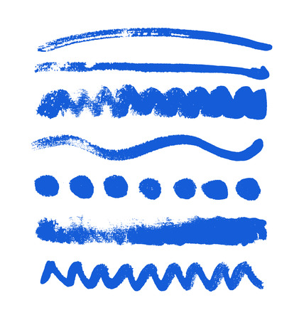 Watercolor blobs collection isolated on white background. Set of watercolor blue colored shapes, handdrawn vector texture Ilustração