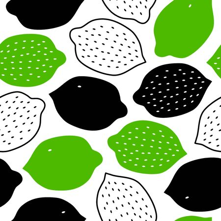 Tropical contrast pattern with lemons, limes. Vector fruits background, eco nature texture, decorative ornament in scandinavian style Ilustração