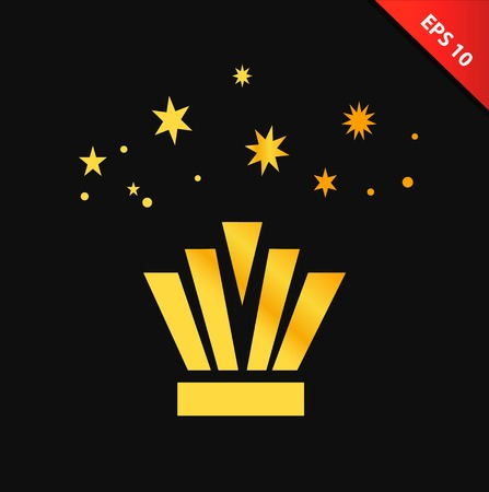 Isolated vector gold crown. Decorative symbol of glory, victory, Royal power