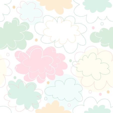 Seamless decorative pattern with fantasy clouds. Childish delicate texture, cute baby background Ilustração