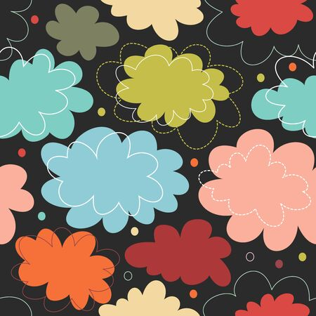 Seamless decorative colorful pattern with fantasy clouds. Childish delicate texture, cute baby background