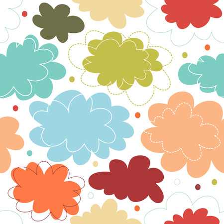 Seamless decorative multicolor pattern with fantasy clouds. Childish delicate texture, cute baby background