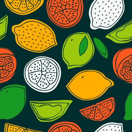 Seamless tropical pattern with lemons, limes, kiwi, kiwifruit. Vector endless background with fruits, decorative nature texture