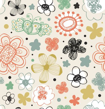 Vector cute pattern with florals. Abstract graphic background with stylized flowers. Decorative grunge texture