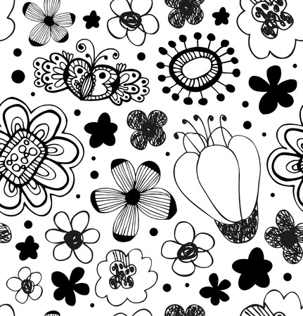 Vector decorative pattern with florals. Abstract graphic background with stylized flowers Ilustração