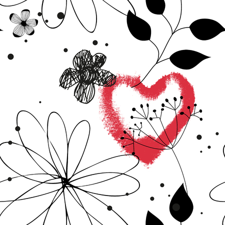 Vector seamless pattern with red watercolor heart, hand drawn abstract background Illustration