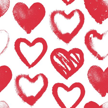 Vector seamless pattern with red watercolor hearts on white, hand drawn background with symbols of love, romantic texture