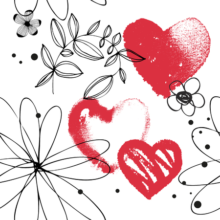 Vector seamless pattern with red watercolor hearts, hand drawn abstract background