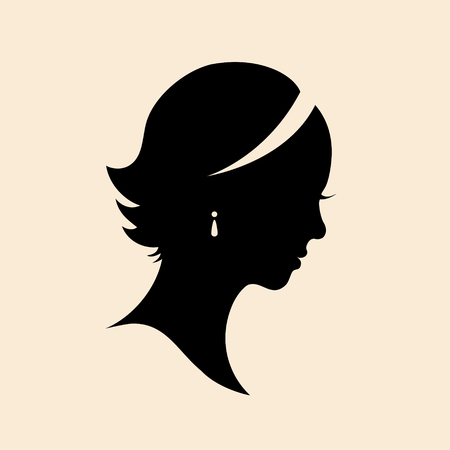Vintage woman head silhouette. Vector Isolated woman. Girl portrait, lady head
