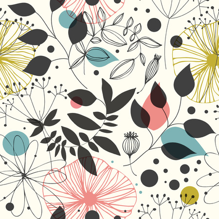 Beautiful fantasy seamless pattern. Decorative vector background with flowesr and leaves. Abstract graphic texture