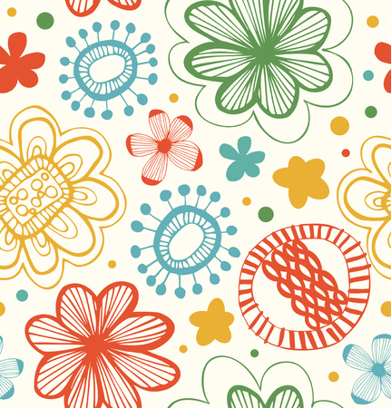Cute decorative pattern with floral ornament. Abstract background with stylized flowers. Beauty texture Ilustração