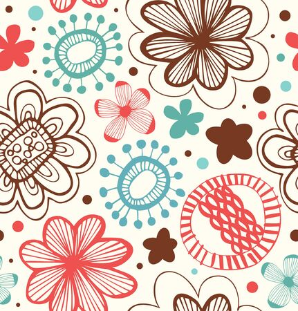 Decorative pattern with floral ornament. Abstract background with stylized flowers. Beauty vector texture