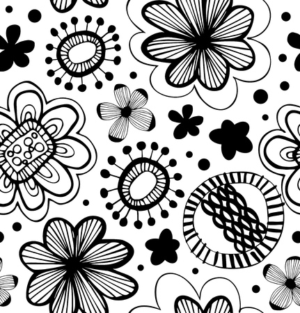 Fantasy decorative pattern with floral ornament. Abstract background with stylized flowers Ilustração
