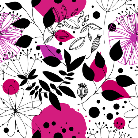 Floral fantasy seamless pattern. Decorative vector background with flowesr and leaves. Abstract graphic texture