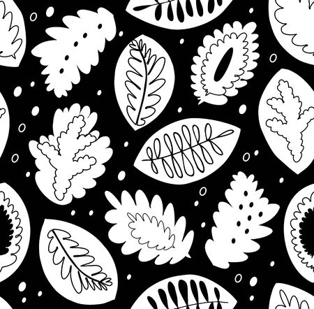 Graphic seamless vector pattern, black and white texture with nature motiffs. Decorative endless background