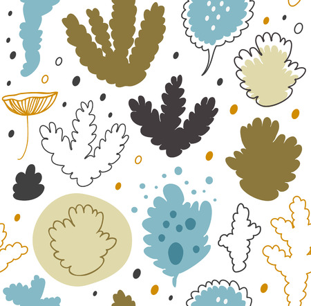 Nordic forest, scandinavian seamless vector pattern with lichen, moss. Decorative floral background