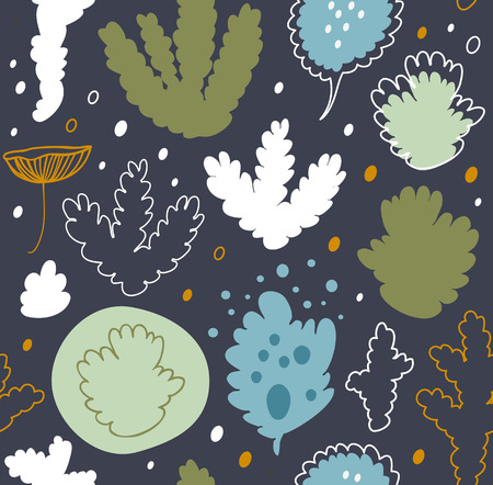 Nordic forest, seamless vector pattern with lichen, moss. Decorative nature background