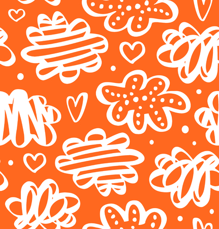 Orange pattern with hearts and clouds. Decorative pattern in scandinavian style. Vector abstract texture