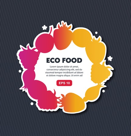 Organic sticker with berries. Vector eco banner. Decorative round frame