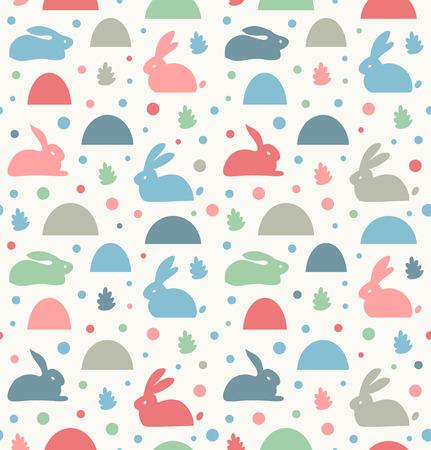 Seamless childish pattern with white rabbits, banny. Decorative cute baby background, cozy winter texture Ilustração