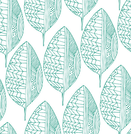 Seamless drawing pattern with decorative green leaves. Vector graphic pattern Ilustração