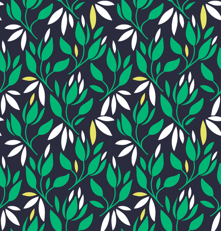 Seamless pattern with flowers and leaves. Vector decorative floral background