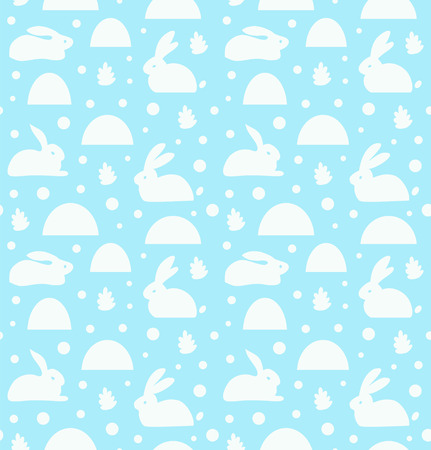 Seamless pattern with white rabbits, banny. Decorative cute baby background, cozy winter texture Illustration